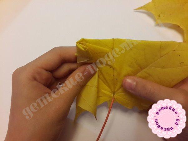 как сделать розы из кленовых листов
