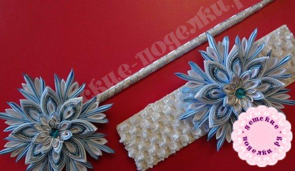 Снежинки канзаши - пошаговый мастер класс с фото