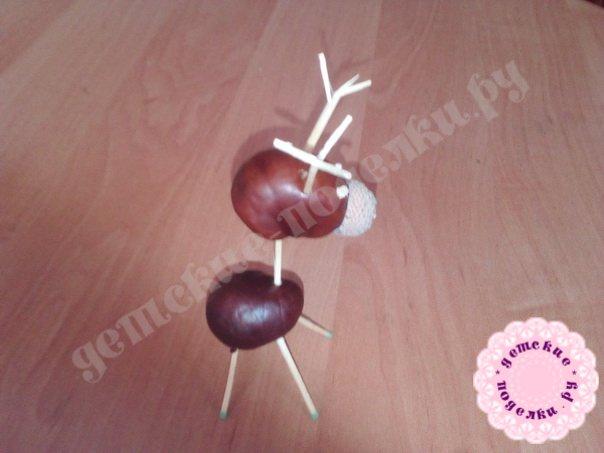 Поделки из желудей и каштанов для детского сада фото
