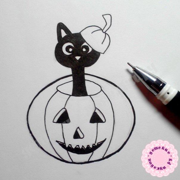 Как нарисовать кота в тыкве цветными карандашами поэтапно для детей