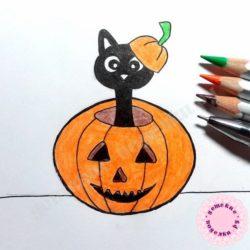 Поэтапный рисунок «Кот в тыкве» для начинающих и детей