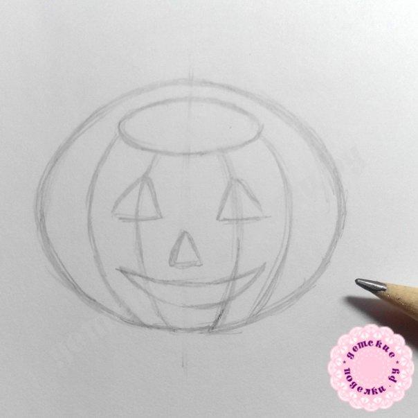 Как нарисовать кота в тыкве цветными карандашами поэтапно для начинающих