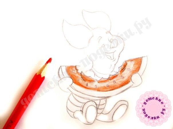 Как просто нарисовать Пятачка для начинающих и детей