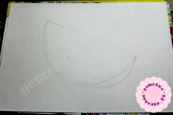 Как нарисовать арбуз цветными карандашами легко для начинающих и детей