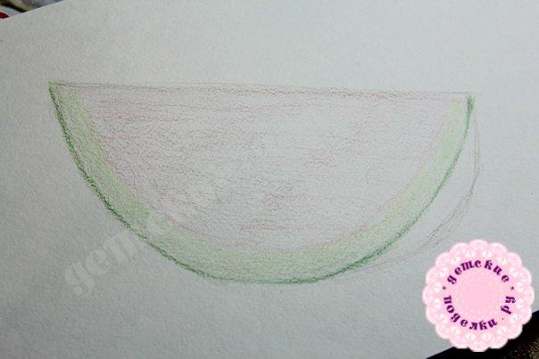 Как нарисовать арбуз цветными карандашами легко и просто для начинающих и детей
