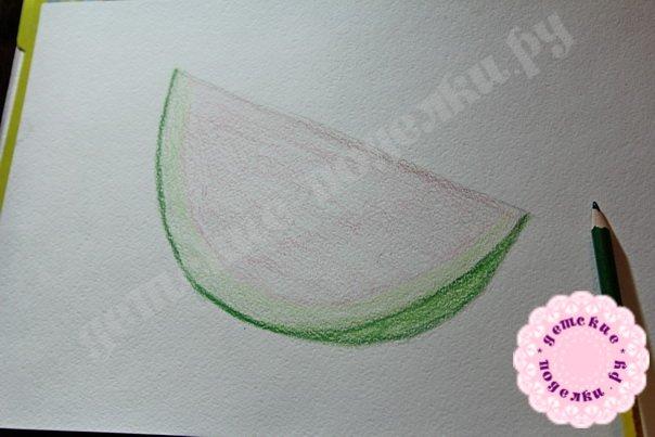 Как нарисовать арбуз цветными карандашами легко и просто для новичков