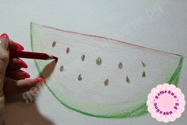 Как нарисовать арбуз цветными карандашами легко и просто для начинающих