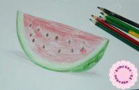 Как нарисовать арбуз цветными карандашами