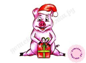 Как нарисовать свинью на новый 2019 год